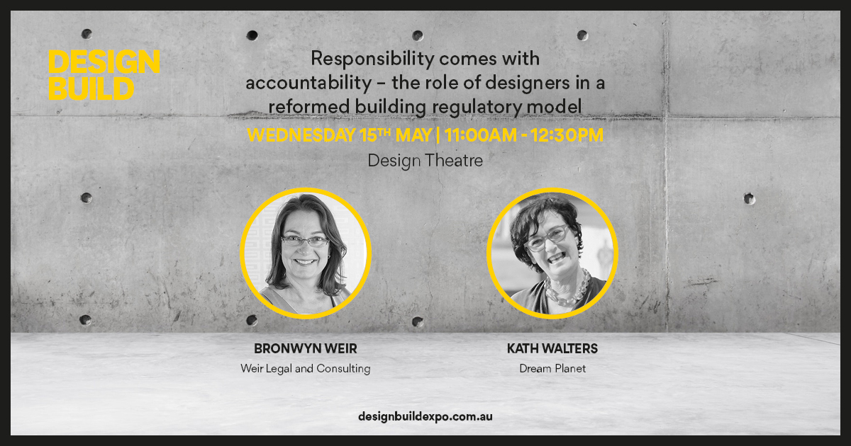 Promotion for the Design Build Expo showing a photo of Bronwyn Weir and Kath Walters