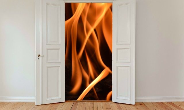 Graphic of a fire outside a door